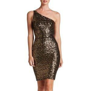Dress The Population Sequin One Shoulder Dress S